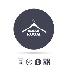 Cloakroom sign icon hanger wardrobe symbol vector