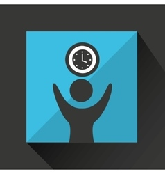 happy man with clock timw icon vector image