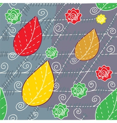 Leaves and lines autumn seamless vector image vector image