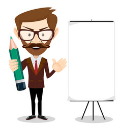 man holding a pencil and pointing to a blank vector image