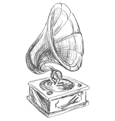 Vintage Gramophone Doodle Style vector image