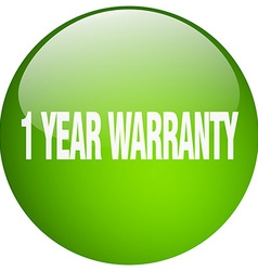 1 year warranty green round gel isolated push vector