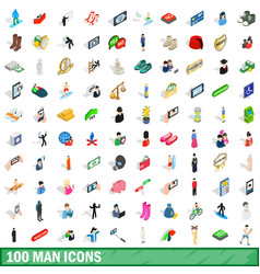 100 man icons set isometric 3d style vector