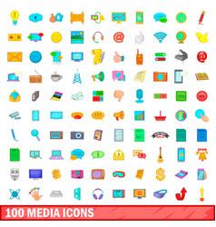 100 media icons set cartoon style vector