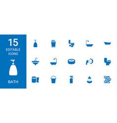15 bath icons vector image