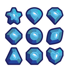 a set of dark blue emblems of precious stones vector image