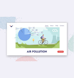 Air pollution landing page template male vector