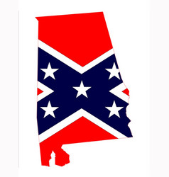 Alabama state with confederate flag vector