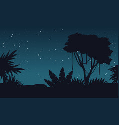 At night jungle with tree silhouette landscape vector
