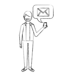 Beard man holding smartphone with email vector