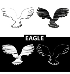 Bird silhouette Black and white drawing eagle vector image