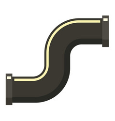 Black s joint pipe icon flat style vector