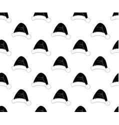 black santa hat on white background vector image