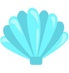 Blue seashell on white background cartoon vector