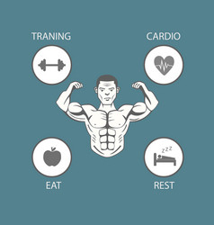 body building lifestyle info graphic vector image vector image