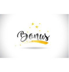 Bonus word text with golden stars trail and vector