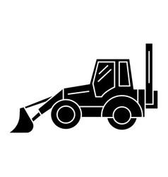 Bulldozer icon black sign on vector