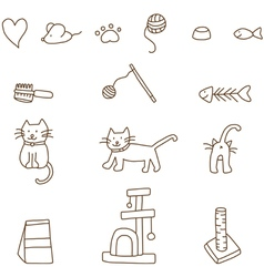 Cat stuff doodle vector image
