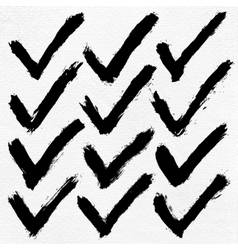 Check mark ink sketch on watercolor paper vector