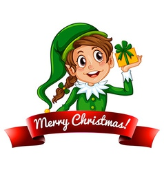 Christmas logo with female elf vector