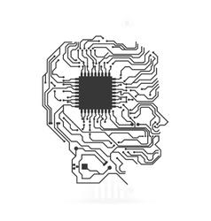 Circuit board head icon Technology design vector