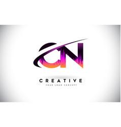 Cn c n grunge letter logo with purple vibrant vector