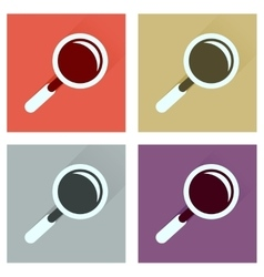 Concept of flat icons with long shadow magnifying vector image