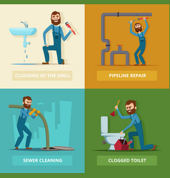 Concept pictures set of plumber at work vector
