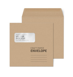 craft square envelope with window on white vector image