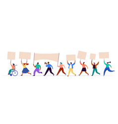 crowd protesters holding banners and placards vector image