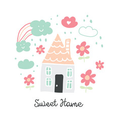 cute doodle house with flowers hearts and rainbow vector image