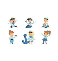 Cute little kid characters wearing mariner uniform vector