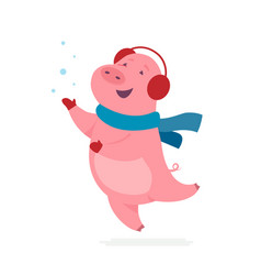 cute pig - modern cartoon character vector image