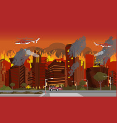 disaster city absorbed by fire vector image