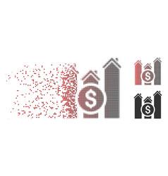 Disintegrating pixel halftone realty price charts vector