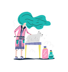 Dog grooming concept vector
