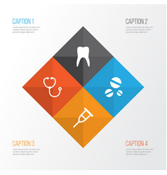 drug icons set collection of stand cure dental vector image