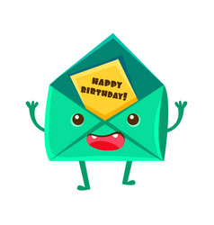 envelop with greeting postcard happy birthday and vector image