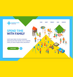 families spending free time 3d landing web page vector image