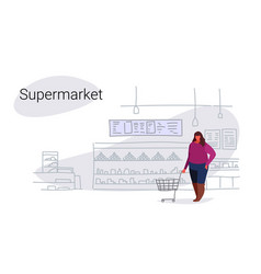 Fat overweight woman pushing trolley cart buying vector