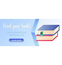 Find your book horizontal banner pile books vector