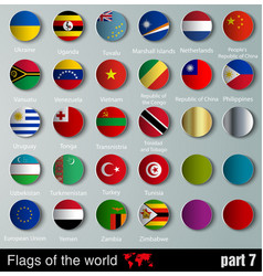 Flags all countries with shadows vector