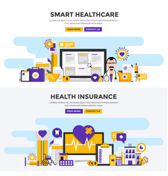 flat design concept banners - smart healthcare vector image
