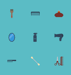 Flat icons hairdresser blow-dryer looking-glass vector