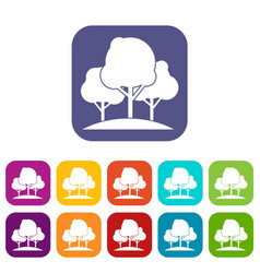 Forest trees icons set vector