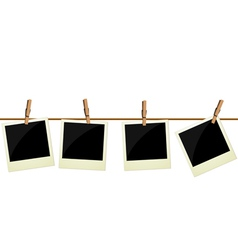 Four polaroid pictures hanging on rope vector image