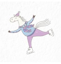 Funny horse on the skates nursery art vector