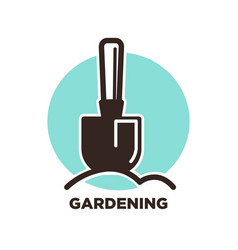 gardening logo design with spade and ground vector image