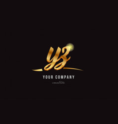 gold alphabet letter yz y z logo combination icon vector image