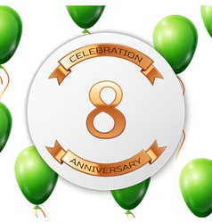 Golden number eight years anniversary celebration vector